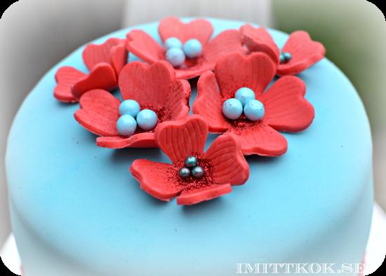 Röd och Turkos tårta